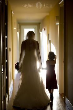 Bride and flower girl  |  Silhouettes  |  Classic wedding photos  |  Aislinn Kate  |  Wedding photos  I  Pensacola Wedding Photographer