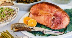Amp up the flavor of a classic Southern New Year's Day ham with bourbon, honey, orange juice and mustard. Easter Dinner Recipes, Easter Brunch, Brunch Recipes, Healthy Dinner Recipes, Pork Recipes, Cooking Recipes, Gourmet Cooking, Pork Ham, Southern Kitchens
