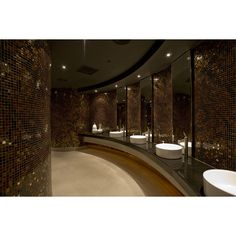 Our lobby restrooms are dimmed, with dark tiling and modern sinks. Lavatory Design, Washroom Design, Toilet Design, Ada Bathroom, Bathroom Toilets, Bathroom Interior, Toilet Room, New Toilet, Commercial Toilet