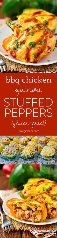 BBQ Chicken and Quinoa Stuffed Peppers are full of flavor yet light and healthy. This gluten-free dinner recipe couldn't be more delicious! | iowagirleats.com