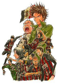 Giant killing Anime, Animation, Manga, Fictional Characters, Sport, Soccer, Wings, Sleeve, Deporte