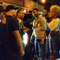 Chris and Juelz Santana arriving to Stage 48 a few minutes ago in NYC.