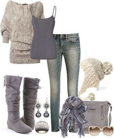 Fall fashion - grey and violet outfit. Comfy sweater and cute hat!