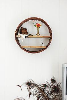 DIY Round Shelf made of a reclaimed apple barrel