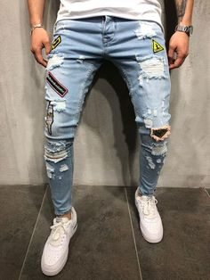 DIAOOAID 2018 Fashion New Male hole badge embroidery denim trousers pants Men's streetwear hiphop skinny Casual Patch Jeans Lässigen Jeans, Ripped Jeans Men, Biker Jeans, Casual Jeans, Super Skinny Jeans, Skinny Fit, Men Casual, Patch Jeans, Jeans Style