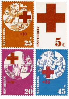 Set of four Red Cross themed stamps from the Netherlands