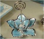 Italian Blue Magnolia Place Card Holder - Italian Wedding Favors