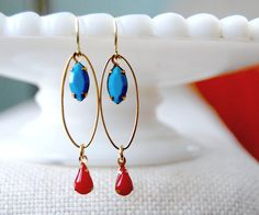 Robins egg blue and cherry red modern vintage.