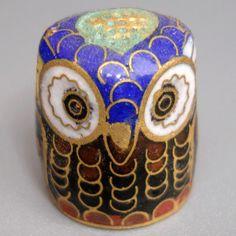 Cloisonné thimble owl