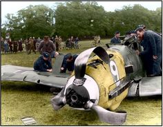 Oberleutnant Karl Fischer's Bf109E-1 (Wn.4851 9+) of 7./Jagdgeschwader 27, after a forced landing near Queen Anne's Gate, Windsor Great Park, Berkshire. 17.00 hrs, 30 September 1940. The mission was a bomber escort. When the formation was on its way to the objective it was attacked by fighters, this aircraft getting into a dog fight. The combat was broken off and the pilot thought that he had not been hit. However an R/T message from his wingman told the pilot that he had a white petrol…