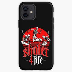 """Skater 4 Life Retro Sunset Skateboarding Halloween Skeletons"" iPhone Case & Cover by GrandeDuc   Redbubble"