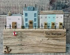 Marina, Driftwood Art, Driftwood Harbour, Wood Sculpture, Wooden Houses, Seaside, Beach Gift, Coastal Art, Recycled Wood Art, Wood Ornament