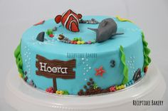 Nemo (haaien) taart #cakedecoration #Nemo #cake #shark #haai #taart