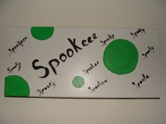 Sign spookeee wood with hanger by DesignsbyLLR on Etsy, $12.00