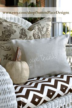 Linen pillow cover embroidered with the phrase Give Thanks available at Sutton Place Designs on Etsy.
