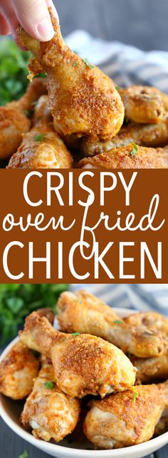 This Crispy Oven Fried Chicken Is Baked To Crispy Perfection In The Oven With A Delicious Balance Of Herbs And Spices It's Easy To Make, Lower In Fat, And Tastes Just Like Fried Chicken And It's Ready In Under 30 Minutes Recipe From Thebusybaker. Crispy Oven Fries, Crispy Oven Fried Chicken, Fried Chicken Recipes, Oven Baked Chicken, Fries In The Oven, Bisquick Oven Fried Chicken Recipe, Crispy Oven Wings, Roasted Chicken, Chicken Drummettes Recipes