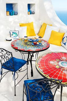 Relax or dine in style al fresco with a mosaic patio table from Pier 1 Imports. Colorful and unique designs make these mosaic tables a conversation starter. Mosaic Outdoor Table, Round Patio Table, Patio Dining, Patio Chairs, Outdoor Dining, Outdoor Decor, Patio Tables, Outdoor Rooms, Diy Patio
