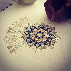Working on my student's work #workshop #dilarayarcı #artwork #tezhip