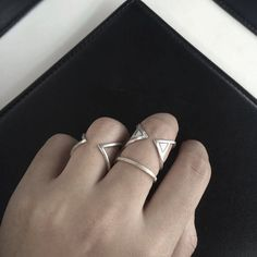 Handmade silver ring set by dunkwoojewelry on Etsy