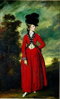 Joshua #Reynolds full length portrait of Lady Worlsey 1776 in a splendid red riding coat