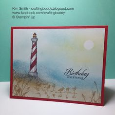 """By Kim Smith. Stamp lighthouse (SU """"From Land to Sea"""") in black on Post-It-Note; cut out. Punch 1/2"""" circle. Place both on white cardstock as masks. Sponge sand (Sahara Sand, Crumb Cake), water (Marina Mist), sky (Soft Sky), and sunlight (So Saffron). Stamp grass and birds from SU """"Wetlands."""" Lift masks. Stamp lighthouse in Memento black ink; color with markers. Sponge white StazOn lightly for sea foam. Sponge gray and Soft Suede for rocky area at base of lighthouse. Add sentiment and base."""