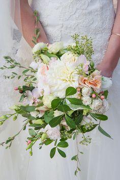 Blush & white wedding bouquet | SouthBound Bride | http://www.southboundbride.com/timeless-blush-wedding-at-kleinevalleij-by-lauren-kriedemann | Credit: Lauren Kriedemann