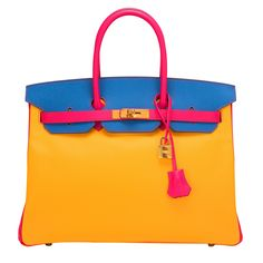 Hermes SO Horseshoe Stamped Tri-Color Rose Tyrien, Jaune D'or, Mykonos Epsom Birkin 35cm - Hermes Horseshoe Stamped, Special Order Birkin 35cm of Rose Tyrien, Juane D'or, and Mykonos in epsom leather with gold hardware.  This Special Order Birkin with Juane D'or front and bottom, Mykonos back and front flap with Rose Tyrien sides, handles, straps have tonal stitching, gold hardware, double rolled handles, a front toggle closure, and a clochette with lock and two keys.  The interior is l...