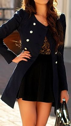 Navy Double Breasted Flare Coat ♥ Get a discount on fashion: http://www.studentrate.com/Fashion-Discounts