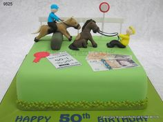 horses and riders edging near the winning post. http://www.cakescrazy.co.uk/details/horse-racing-cake-9525.html