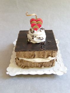 """""""Square Of Fudge Layer Cake"""". 100% recycled cardboard,"""