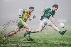 Tommy McElroy floats above the grass and into the mist while closely shadowed by Shaun McGarvey. Croke Park, Sport Photography, Donegal, Dream Life, Grass, Ireland, January, Football, Fitness