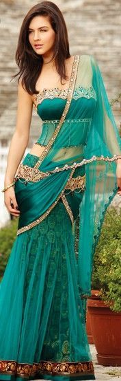 Teal + Gold Embroidery Saree