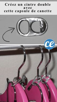 Closet Organizing Hacks & Tips Need more room in the closet? Try can tabs to create double clothes hangers. Closet Organizing Hacks and Tips. Home Improvement and Spring Cleaning Ideas for your Nest. Ideas on Frugal Coupon Living.