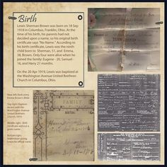 Birth ~ No photos from an ancestor's childhood? No problem! Scrap a page with in-depth journaling, vintage documents and records instead.