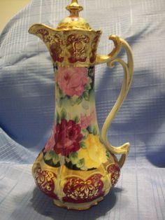 "13""Tall Gorgeous Hand Painted Nippon Rose  Chocolate Pot, Royal Kinran, Ca 1906"