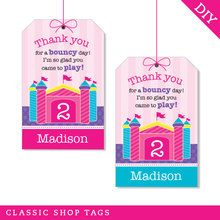 Pink Bounce House Party Favor Tags (Digital File)