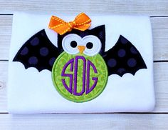 Bat Halloween Shirt, Gown, or Bodysuit - Bat Owl Applique Embroidery Halloween Outfit For Baby Girl Baby Boy Girls Boys Teens M2M Available on Etsy, $22.00
