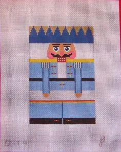 JB BLUE KING NUTCRACKER ROLL UP ORNAMENT HANDPAINTED NEEDLEPOINT CANVAS