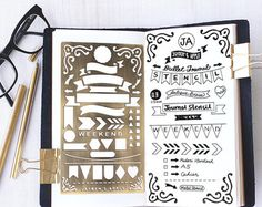 Planner Stencil, Bullet Journal Stencil, Banners and Flag Stencil - fits A5…