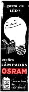 """ANOS DOURADOS: IMAGENS & FATOS: IMAGENS - Anúncio: LÂMPADAS """"OSRAM""""1958"""
