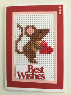 Mouse Tiny Cross Stitch, Cross Stitch Heart, Cross Stitch Cards, Cross Stitch Designs, Cross Stitch Patterns, Stitching On Paper, Cross Stitching, Cross Stitch Embroidery, Cute Sewing Projects