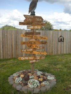 Directional sign in Outdoor Adventure Area - using local town  destination names cute craft ideas signs