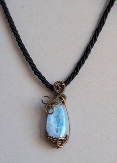 Light blue Druzy Pendant Gemstone necklace Wire wrapped