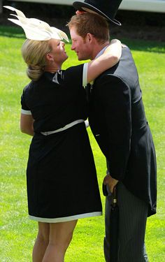 Zara Tindall was on ebullient form and followed up a hug for her cousin Prince Harry as they attends the Royal Ascot 2014 Day One-SO SWEET TAKING OFF HIS HAT