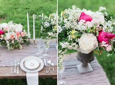 classy white pink crystal wedding table decoration