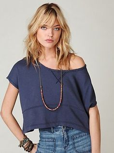 New Free People Off the Shoulder Cropped Sweatshirt in Shark Size Medium/Large