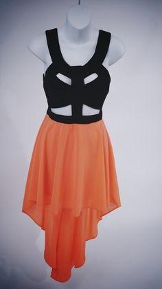 Reverse Hi-Low Neon Cutout Dress - $67.00