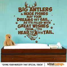 """36 x 36"""" - Wall Decals Nursery Hunting Fishing Deer Baby Childrens Room - To go to sleep - Big Antlers Huge Fish Vinyl decal"""
