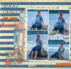 Good Times at the Beach Scrapbooking Layouts Vintage, Beach Scrapbook Layouts, Travel Scrapbook Pages, Vacation Scrapbook, Scrapbook Layout Sketches, Photo Album Scrapbooking, Baby Scrapbook, Picture Layouts, Beach Trip