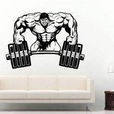 Gym Sticker Fitness Crossfit Barbell Muscle Decal Body-building Posters Wall Sticker Parede Decor Gym Sticker #M719 #Affiliate